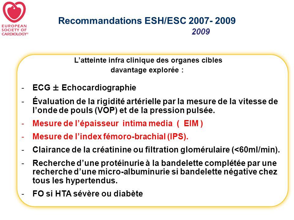 Recommandations ESH/ESC 2007- 2009 -ECG ± Echocardiographie -Évaluation de la rigidité artérielle par la mesure de la vitesse de londe de pouls (VOP)