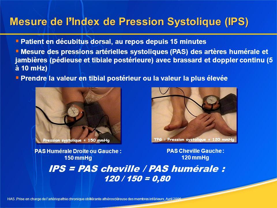 Interprétation clinique de la mesure de lIPS Valeur IPSInterprétation clinique > 1,30 Artères incompressibles (diabète, insuffisance rénale, sujet âgé) 0,90 – 1,30 Etat hémodynamique normal 0,75 – 0,90 AOMI bien compensée 0,40 – 0,75 AOMI peu compensée < 0,40 ou PA cheville < 50 mmHg AOMI avec retentissement sévère 10 IPS < 0,90 = AOMI - sensibilité 95 % - spécificité 100 % IPS > 1,30 = artères incompressibles (médiacalcose) Valeurs normales : 0,90 < IPS < 1,30 1.HAS.