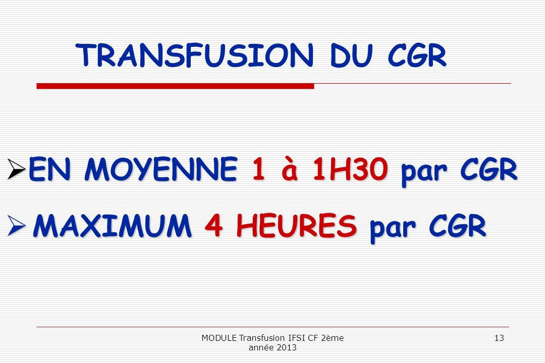 EN MOYENNE 1 à 1H30 par CGR EN MOYENNE 1 à 1H30 par CGR MAXIMUM 4 HEURES par CGR MAXIMUM 4 HEURES par CGR TRANSFUSION DU CGR 13MODULE Transfusion IFSI
