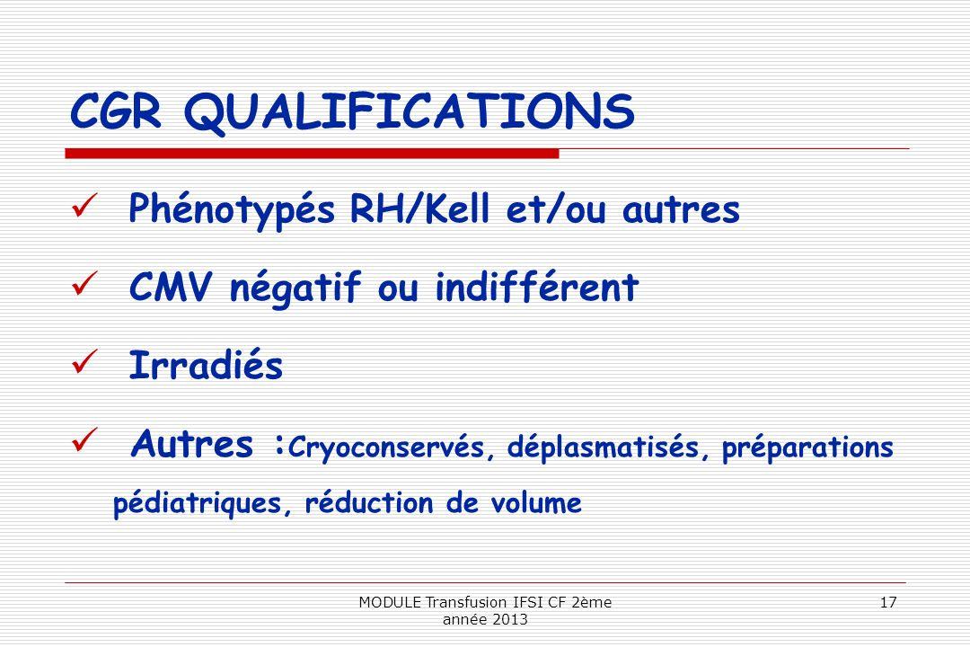 CGR QUALIFICATIONS Phénotypés RH/Kell et/ou autres CMV négatif ou indifférent Irradiés Autres : Cryoconservés, déplasmatisés, préparations pédiatrique