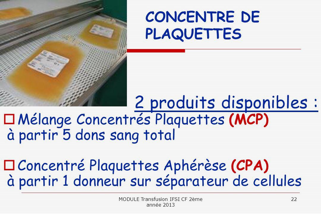 CONCENTRE DE PLAQUETTES 2 produits disponibles : Mélange Concentrés Plaquettes (MCP) à partir 5 dons sang total Concentré Plaquettes Aphérèse (CPA) à