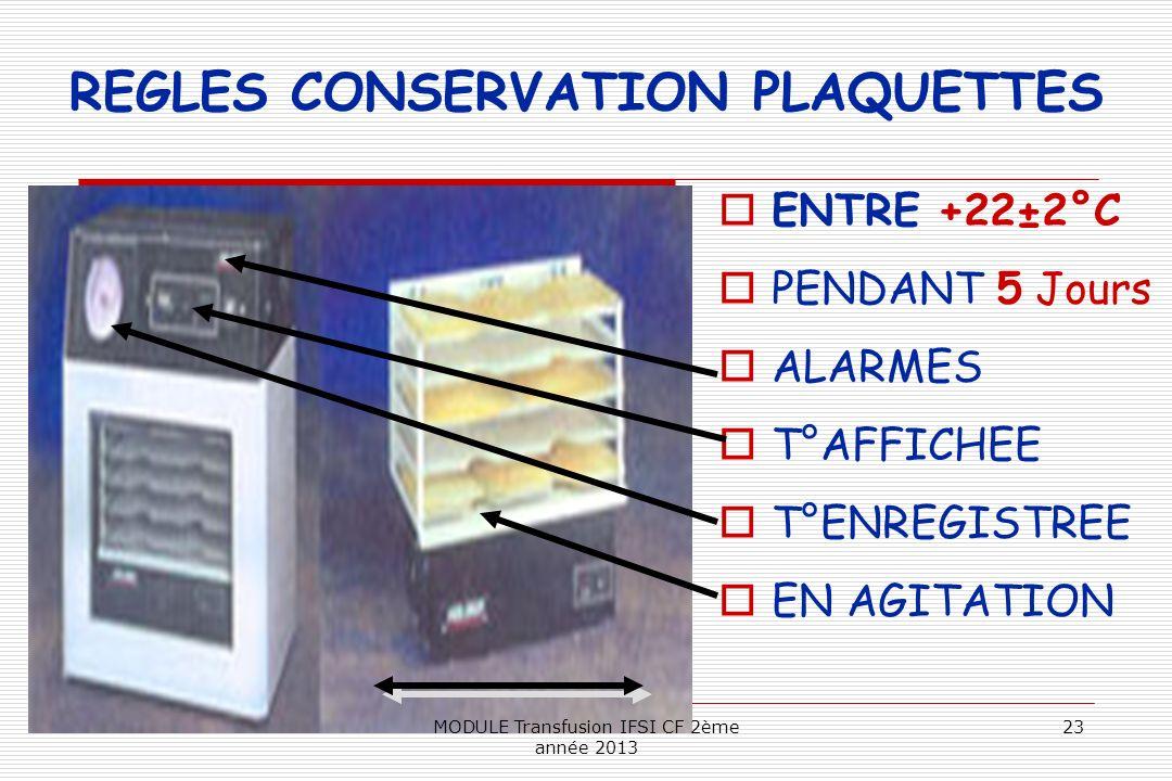 REGLES CONSERVATION PLAQUETTES ENTRE +22±2°C PENDANT 5 Jours ALARMES T°AFFICHEE T°ENREGISTREE EN AGITATION 23MODULE Transfusion IFSI CF 2ème année 201