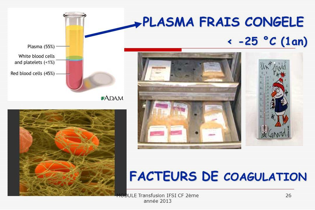 < -25 °C (1an) PLASMA FRAIS CONGELE FACTEURS DE COAGULATION 26MODULE Transfusion IFSI CF 2ème année 2013