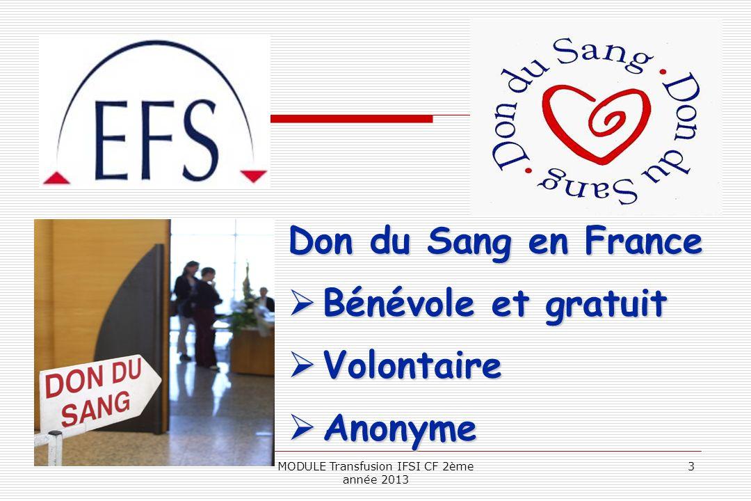 Don du Sang en France Bénévole et gratuit Bénévole et gratuit Volontaire Volontaire Anonyme Anonyme 3MODULE Transfusion IFSI CF 2ème année 2013