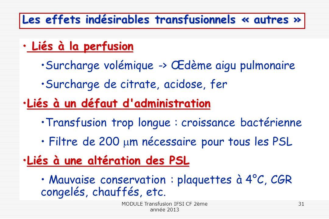 Les effets indésirables transfusionnels « autres » Liés à la perfusion Liés à la perfusion Surcharge volémique -> Œdème aigu pulmonaire Surcharge de c
