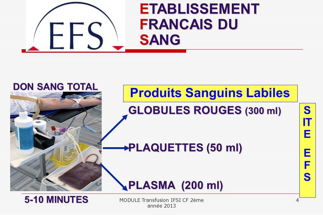 ETABLISSEMENT FRANCAIS DU SANG Produits Sanguins Labiles S IT E E F S GLOBULES ROUGES (300 ml) PLAQUETTES (50 ml) PLASMA (200 ml) DON SANG TOTAL 5-10