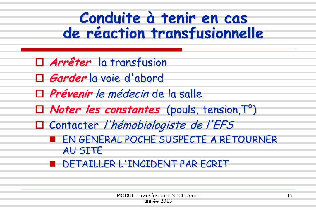 Conduite à tenir en cas de réaction transfusionnelle Arrêter la transfusion Garder la voie d'abord Prévenir le médecin de la salle Noter les constante