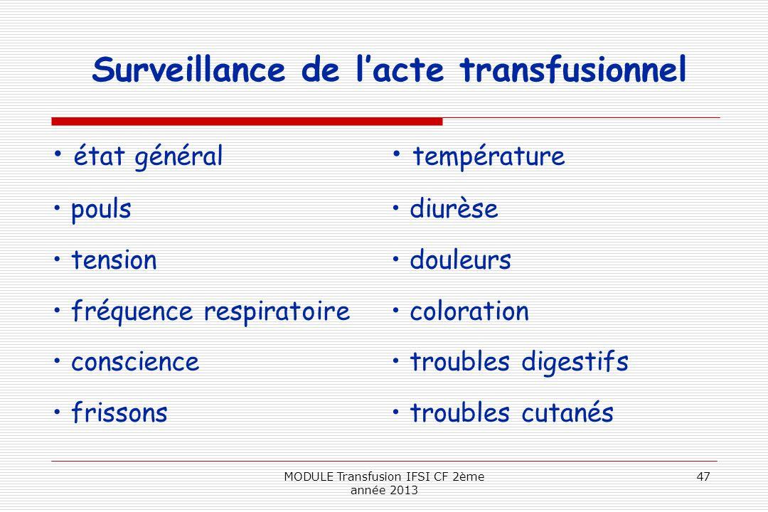 Surveillance de lacte transfusionnel état général pouls tension fréquence respiratoire conscience frissons température diurèse douleurs coloration tro