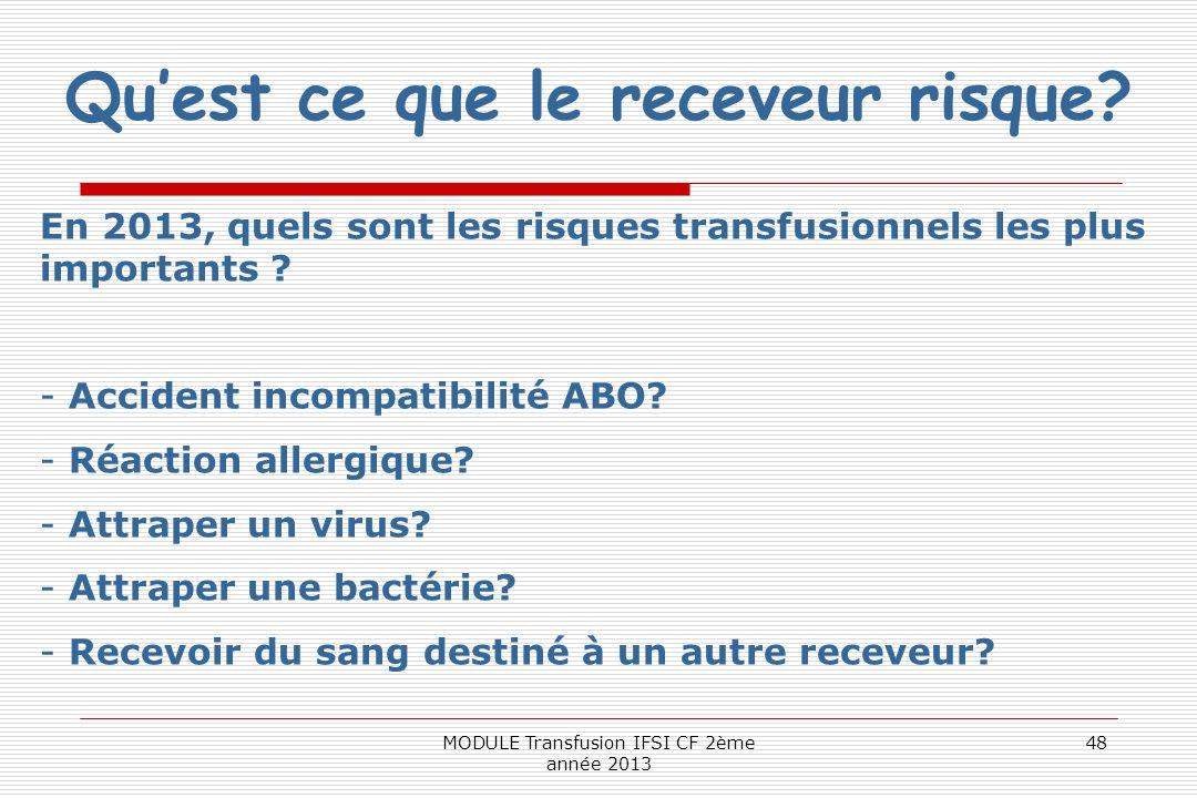 Quest ce que le receveur risque? En 2013, quels sont les risques transfusionnels les plus importants ? - Accident incompatibilité ABO? - Réaction alle