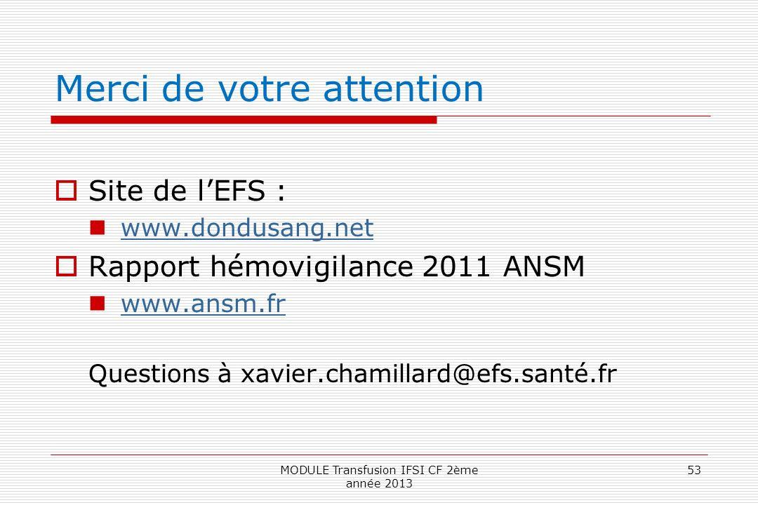 Merci de votre attention Site de lEFS : www.dondusang.net Rapport hémovigilance 2011 ANSM www.ansm.fr Questions à xavier.chamillard@efs.santé.fr 53MOD