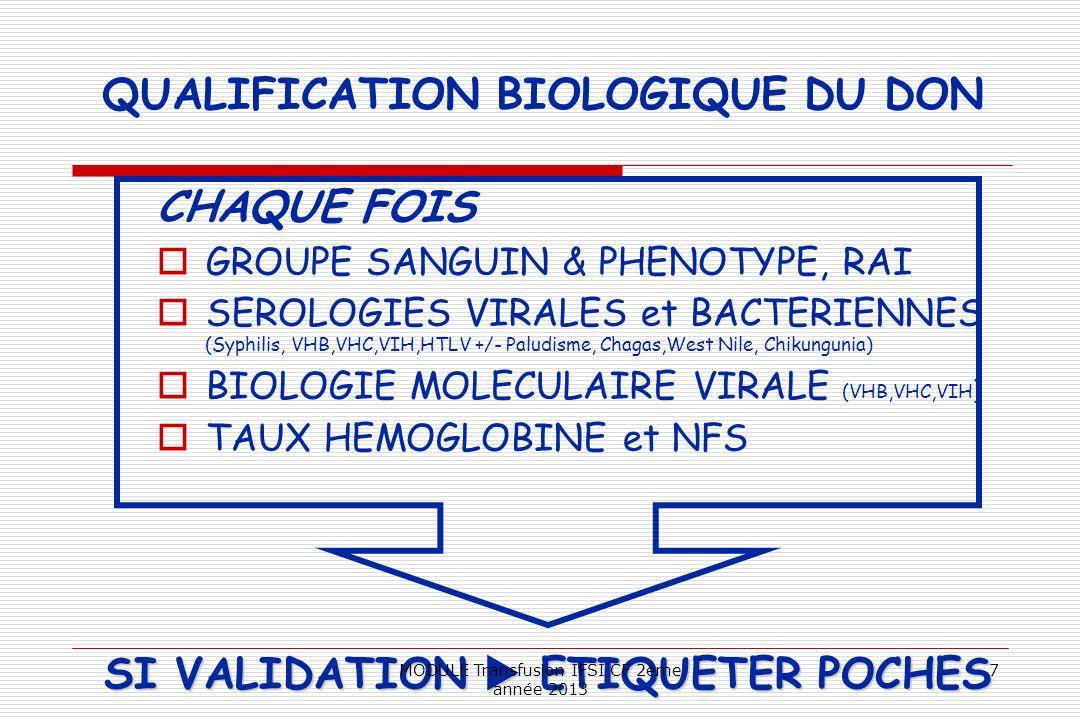 QUALIFICATION BIOLOGIQUE DU DON CHAQUE FOIS GROUPE SANGUIN & PHENOTYPE, RAI SEROLOGIES VIRALES et BACTERIENNES (Syphilis, VHB,VHC,VIH,HTLV +/- Paludis