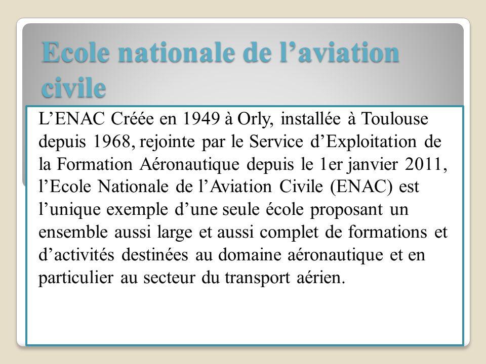 Ecole nationale de laviation civile LENAC Créée en 1949 à Orly, installée à Toulouse depuis 1968, rejointe par le Service dExploitation de la Formatio