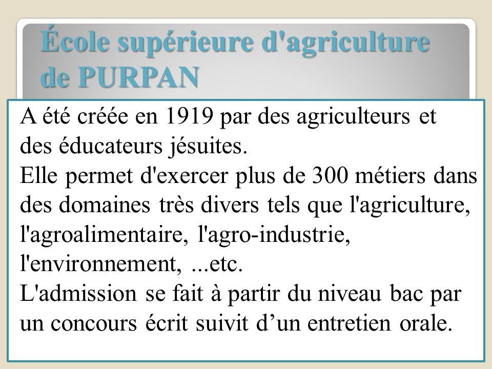 École supérieure d'agriculture de PURPAN A été créée en 1919 par des agriculteurs et des éducateurs jésuites. Elle permet d'exercer plus de 300 métier