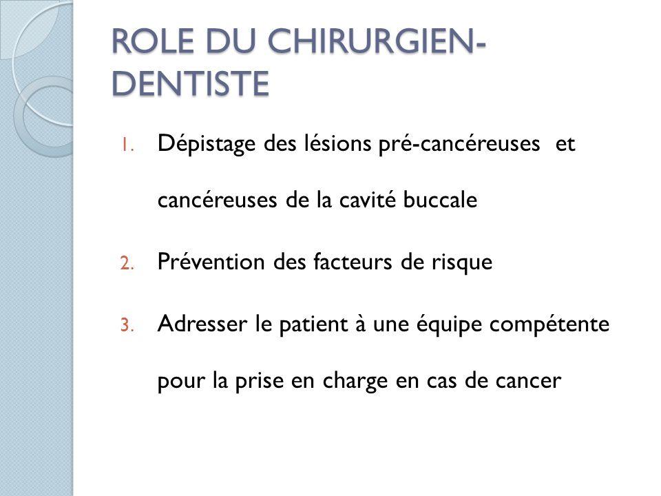ROLE DU CHIRURGIEN- DENTISTE 1. Dépistage des lésions pré-cancéreuses et cancéreuses de la cavité buccale 2. Prévention des facteurs de risque 3. Adre