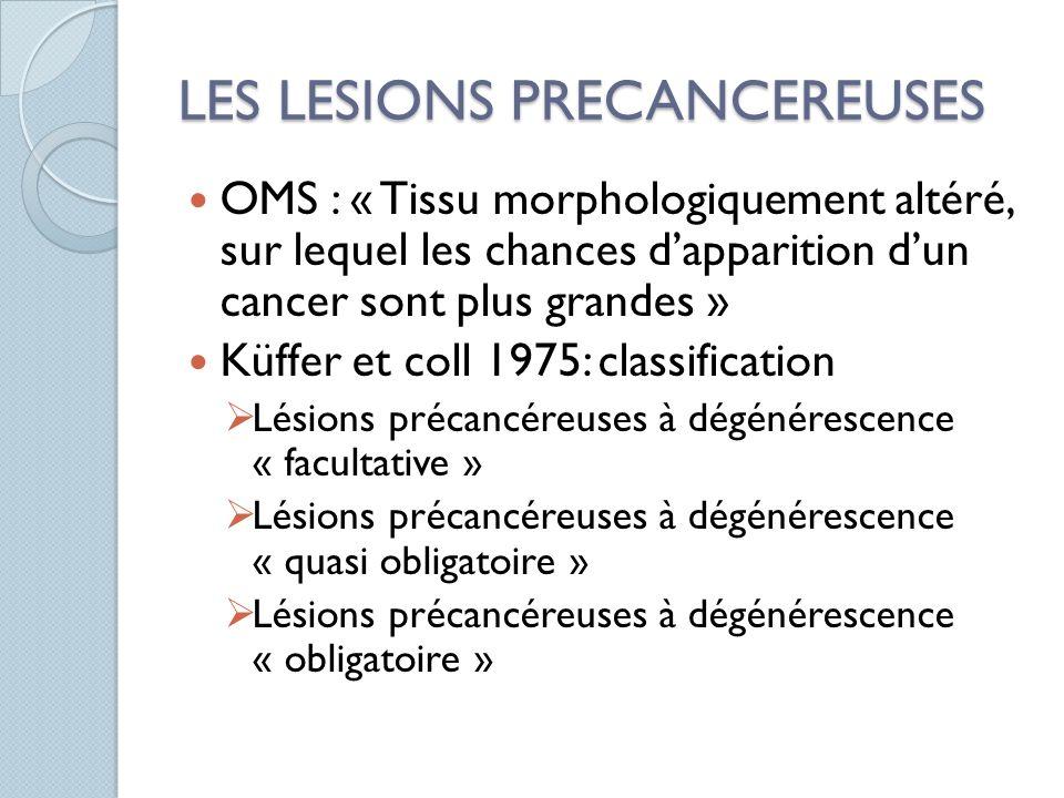 LES LESIONS PRECANCEREUSES OMS : « Tissu morphologiquement altéré, sur lequel les chances dapparition dun cancer sont plus grandes » Küffer et coll 19