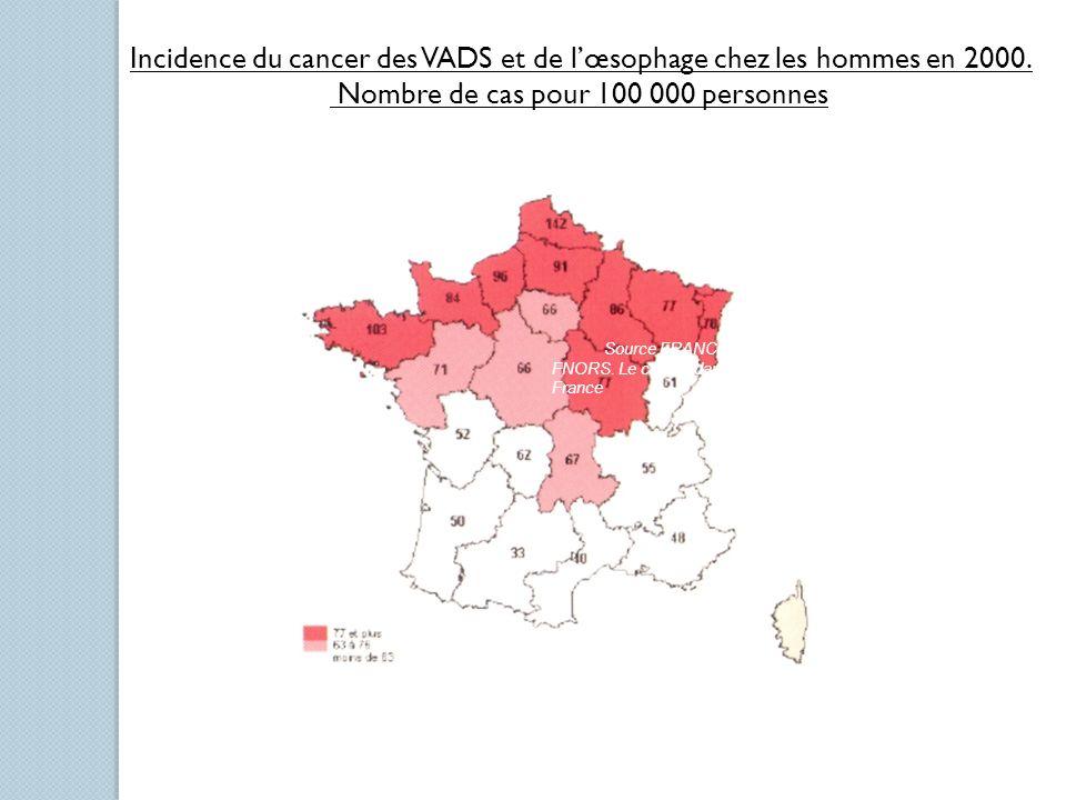 Incidence du cancer des VADS et de lœsophage chez les hommes en 2000. Nombre de cas pour 100 000 personnes Source FRANCIM-Exploitation FNORS. Le cance