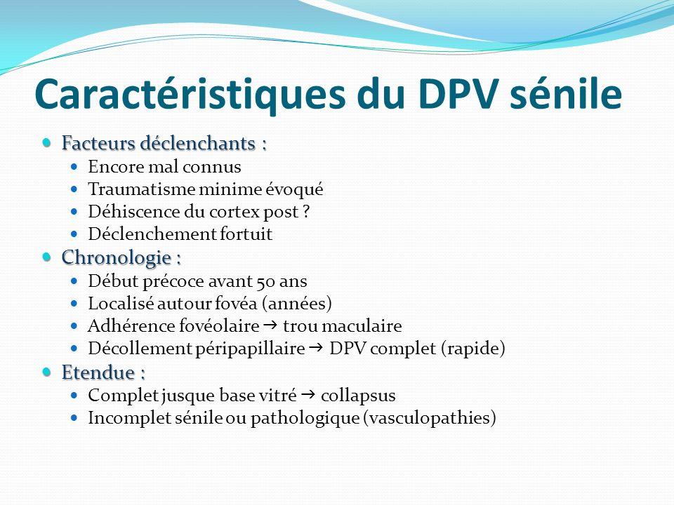 Caractéristiques du DPV sénile Facteurs déclenchants : Facteurs déclenchants : Encore mal connus Traumatisme minime évoqué Déhiscence du cortex post .