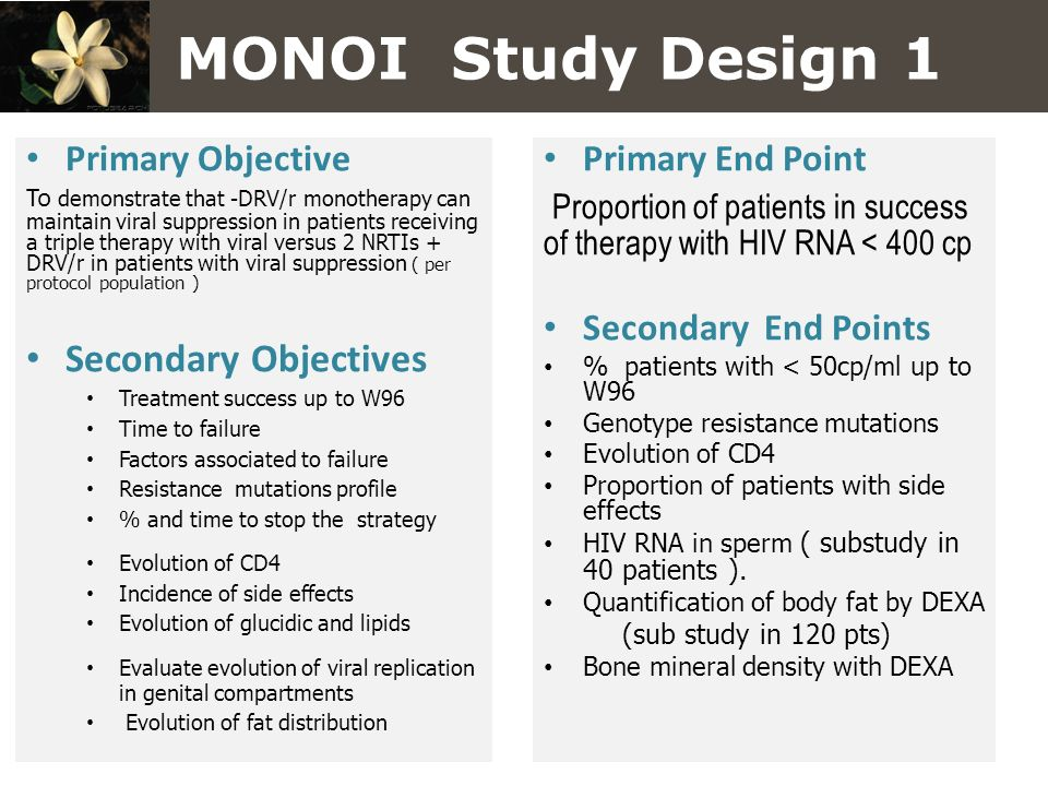 Primary Objective To demonstrate that -DRV/r monotherapy can maintain viral suppression in patients receiving a triple therapy with viral versus 2 NRT