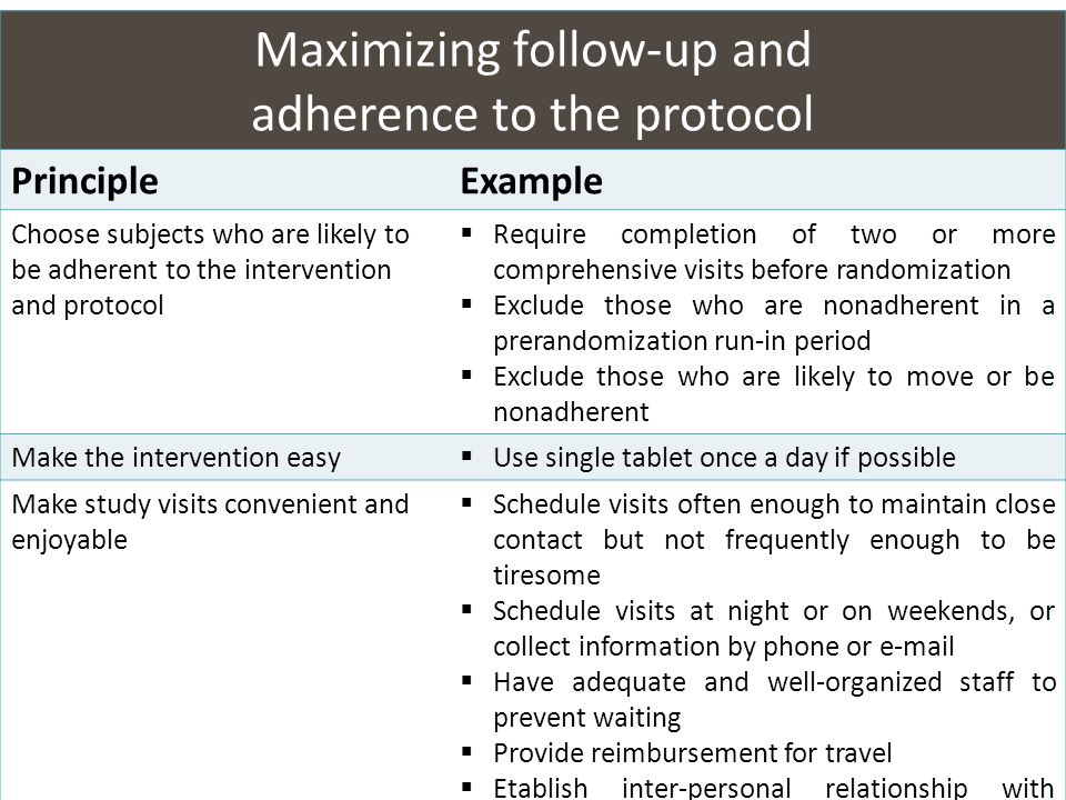 Maximizing follow-up and adherence to the protocol PrincipleExample Choose subjects who are likely to be adherent to the intervention and protocol Req