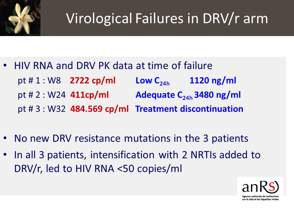 HIV RNA and DRV PK data at time of failure pt # 1 : W8 2722 cp/ml Low C 24h 1120 ng/ml pt # 2 : W24 411cp/ml Adequate C 24h 3480 ng/ml pt # 3 : W32 48