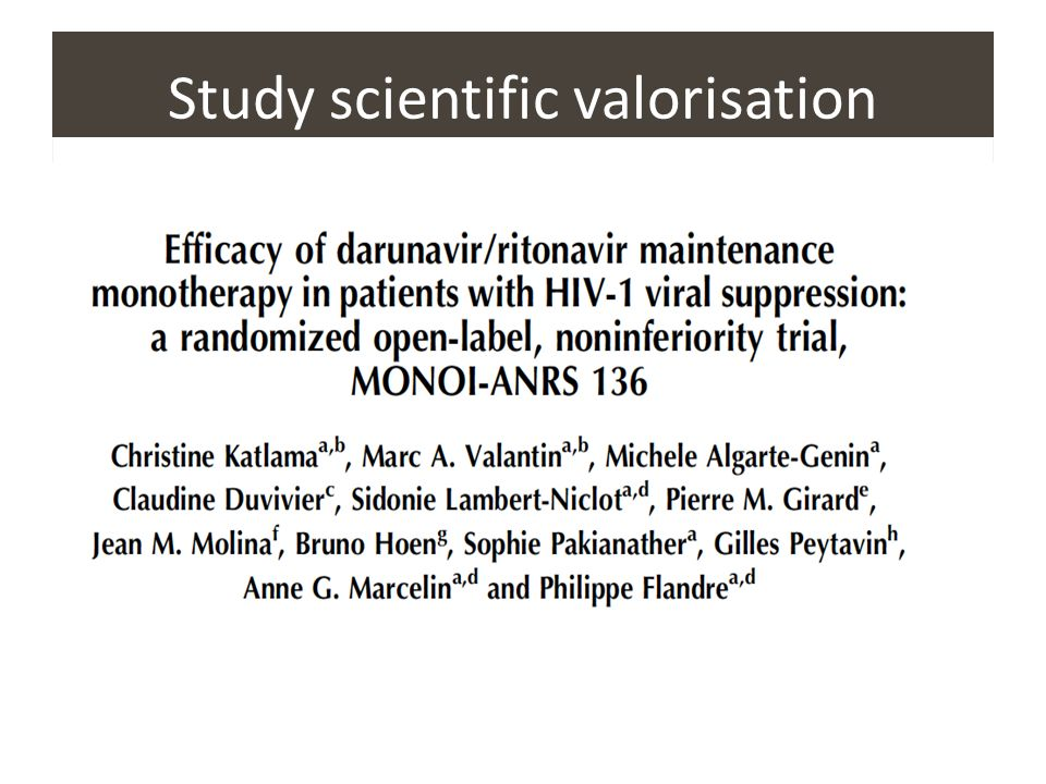 Study scientific valorisation