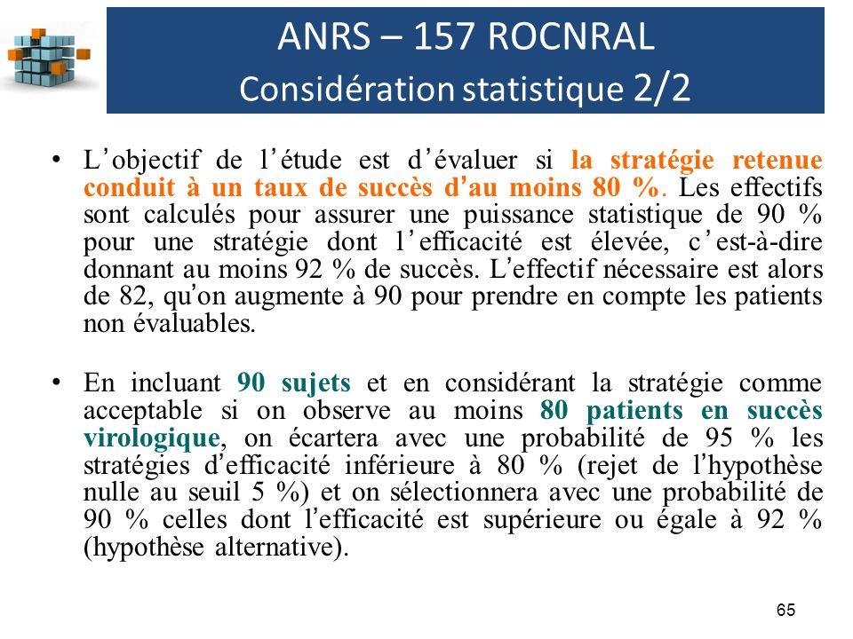 65 ANRS – 157 ROCNRAL Considération statistique 2/2 Lobjectif de létude est dévaluer si la stratégie retenue conduit à un taux de succès dau moins 80 %.