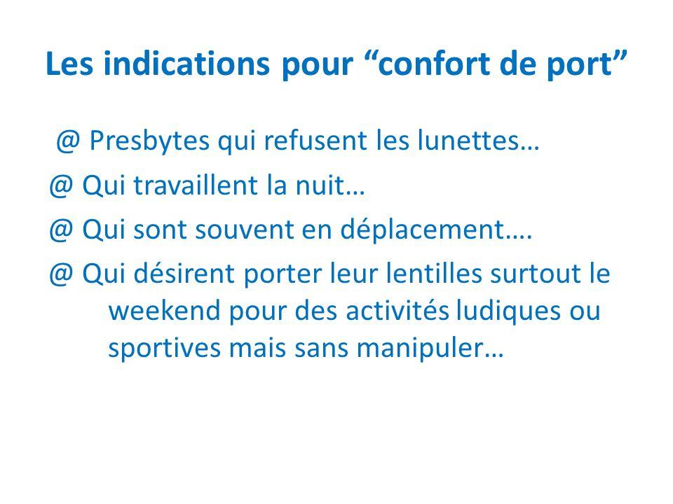 Les indications pour confort de port @ Presbytes qui refusent les lunettes… @ Qui travaillent la nuit… @ Qui sont souvent en déplacement…. @ Qui désir