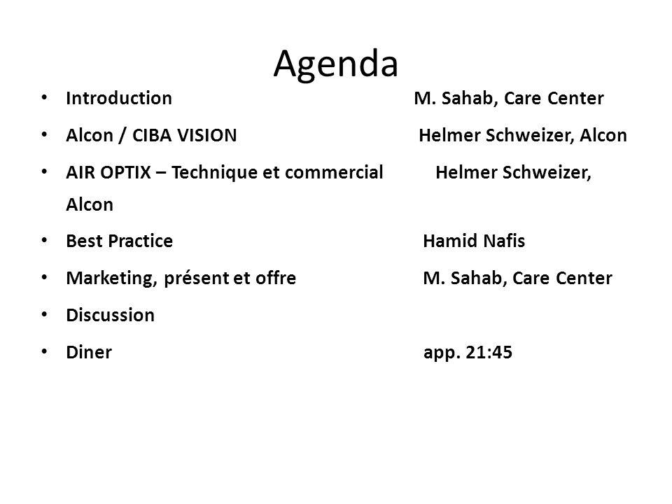 Agenda Introduction M. Sahab, Care Center Alcon / CIBA VISION Helmer Schweizer, Alcon AIR OPTIX – Technique et commercial Helmer Schweizer, Alcon Best