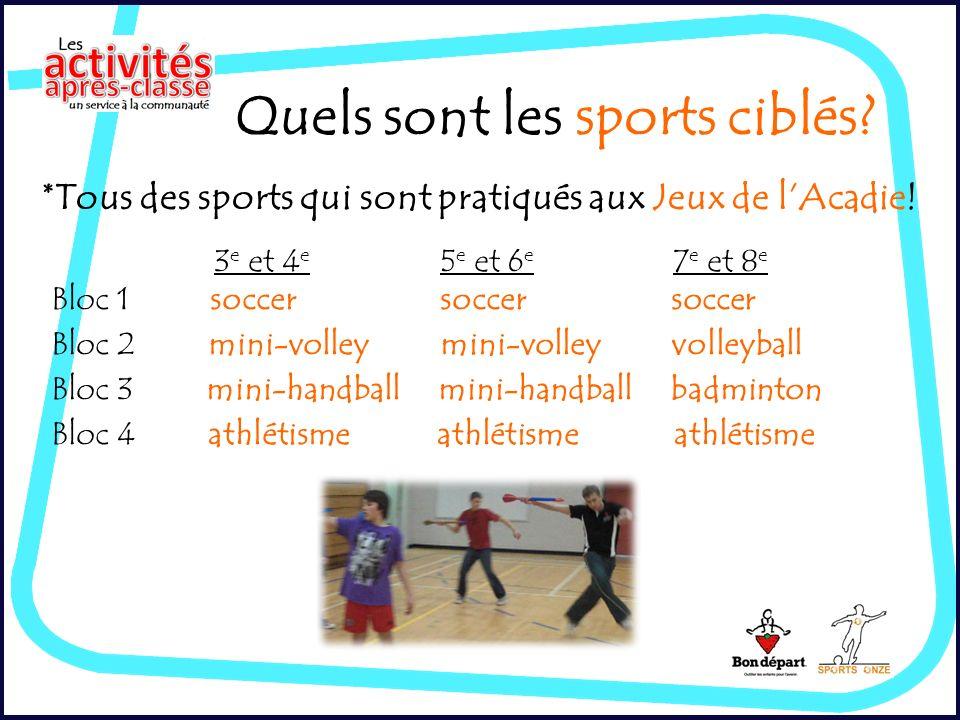 Quels sont les sports ciblés. *Tous des sports qui sont pratiqués aux Jeux de lAcadie.