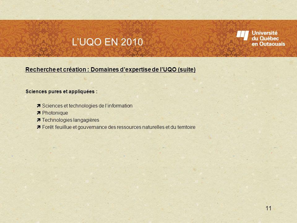 LUQO en 2010 Recherche et création : Domaines dexpertise de lUQO (suite) Sciences pures et appliquées : Sciences et technologies de linformation Photo