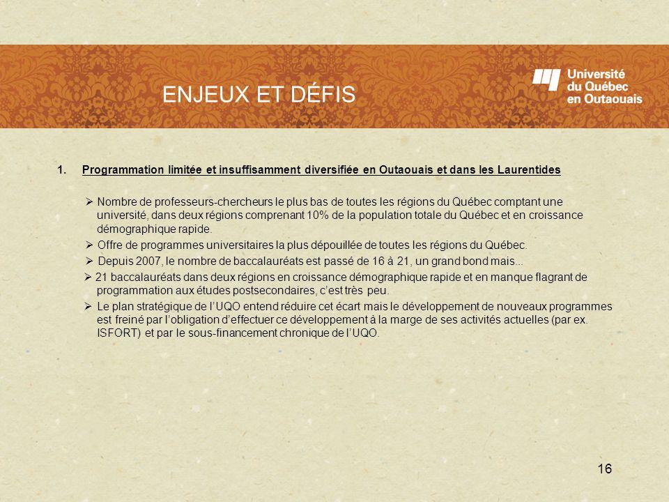 LUQO en 2009 - 2010 1.Programmation limitée et insuffisamment diversifiée en Outaouais et dans les Laurentides Nombre de professeurs-chercheurs le plu