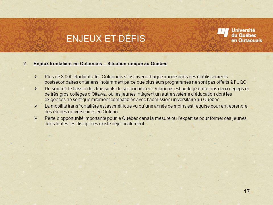 LUQO en 2009 - 2010 2.Enjeux frontaliers en Outaouais – Situation unique au Québec Plus de 3 000 étudiants de lOutaouais sinscrivent chaque année dans
