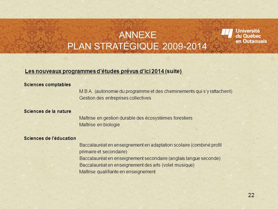 LUQO en 2009 - 2010 Les nouveaux programmes détudes prévus dici 2014 (suite) Sciences comptables M.B.A. (autonomie du programme et des cheminements qu