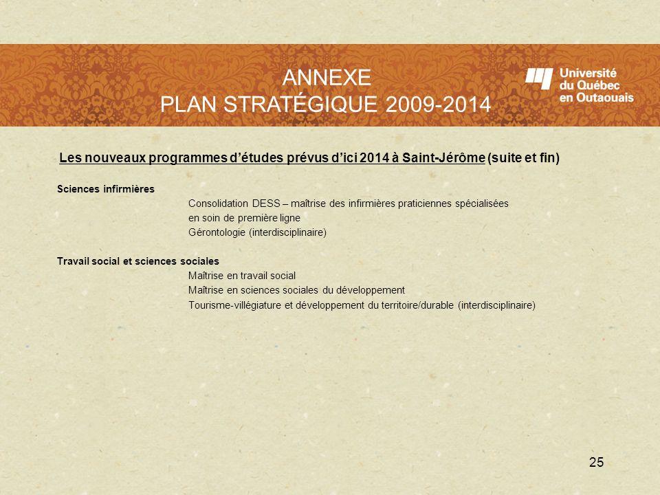 LUQO en 2009 - 2010 Les nouveaux programmes détudes prévus dici 2014 à Saint-Jérôme (suite et fin) Sciences infirmières Consolidation DESS – maîtrise