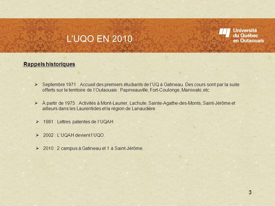 LUQO en 2010 Rappels historiques Septembre 1971 : Accueil des premiers étudiants de lUQ à Gatineau. Des cours sont par la suite offerts sur le territo