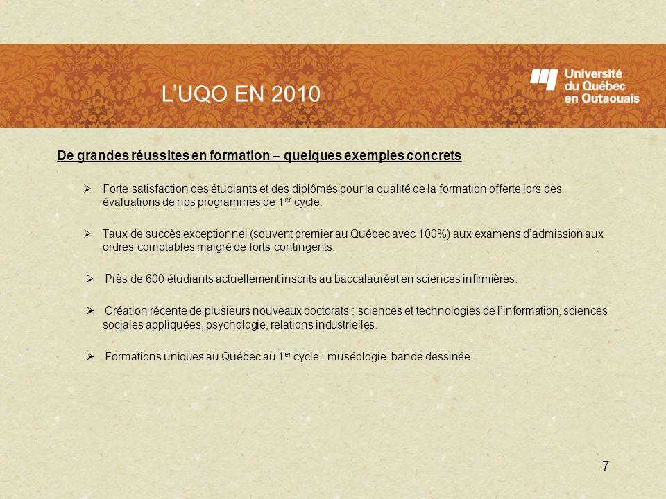 LUQO en 2010 De grandes réussites en formation – quelques exemples concrets Forte satisfaction des étudiants et des diplômés pour la qualité de la for