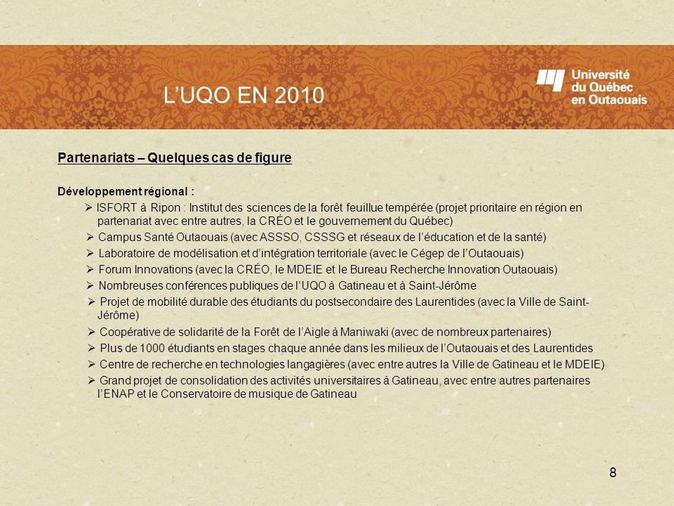 LUQO en 2010 Partenariats – Quelques cas de figure Développement régional : ISFORT à Ripon : Institut des sciences de la forêt feuillue tempérée (proj