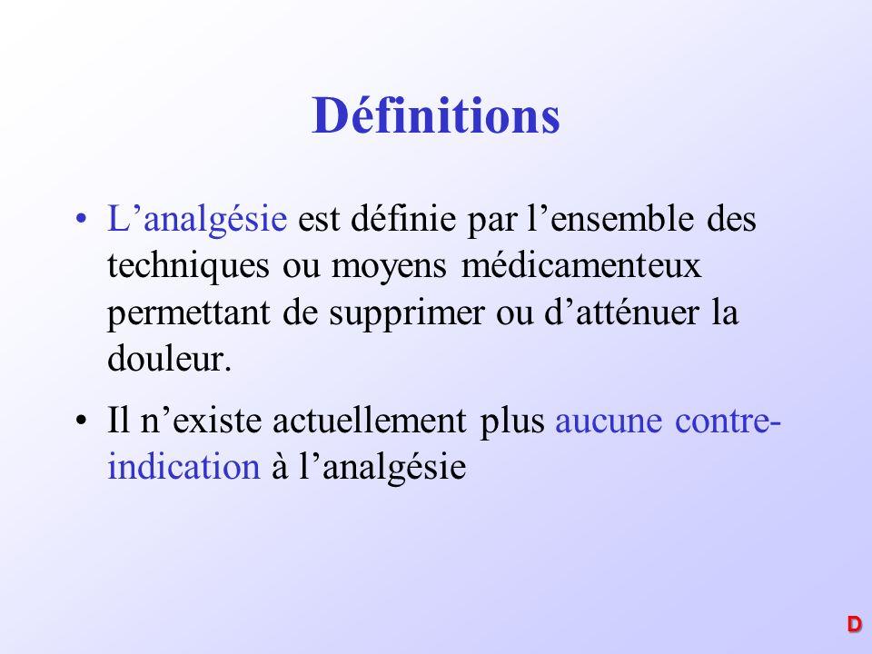 Définitions Lanalgésie est définie par lensemble des techniques ou moyens médicamenteux permettant de supprimer ou datténuer la douleur. Il nexiste ac