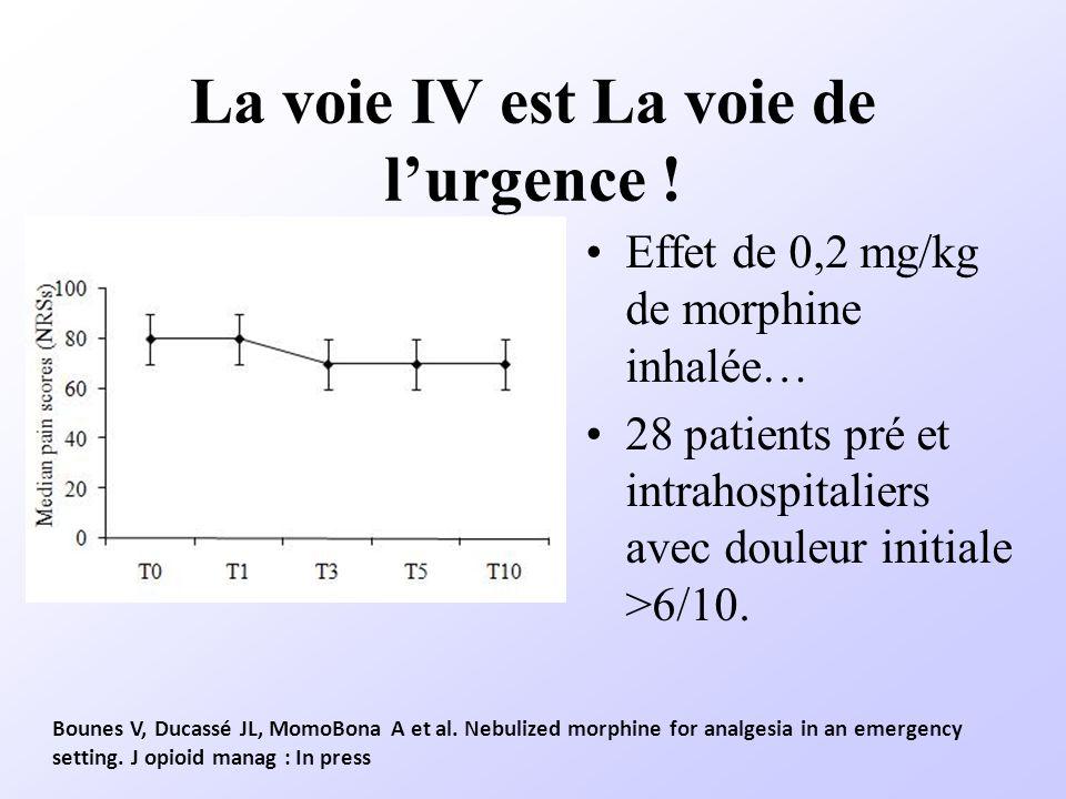 La voie IV est La voie de lurgence ! Effet de 0,2 mg/kg de morphine inhalée… 28 patients pré et intrahospitaliers avec douleur initiale >6/10. Bounes