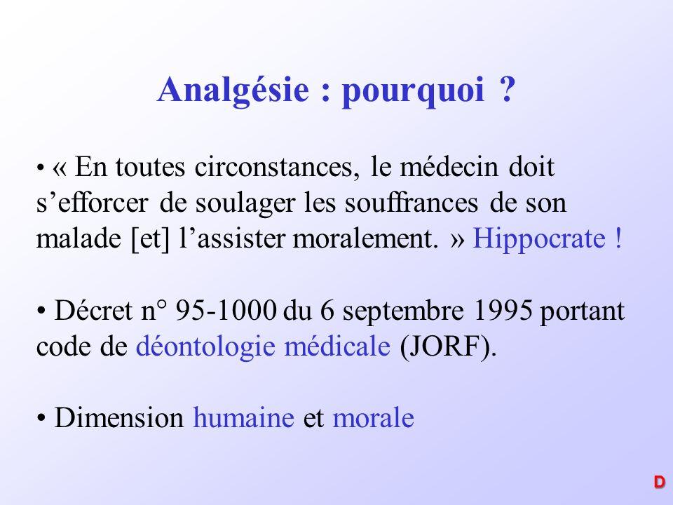 Analgésie : pourquoi ? « En toutes circonstances, le médecin doit sefforcer de soulager les souffrances de son malade [et] lassister moralement. » Hip