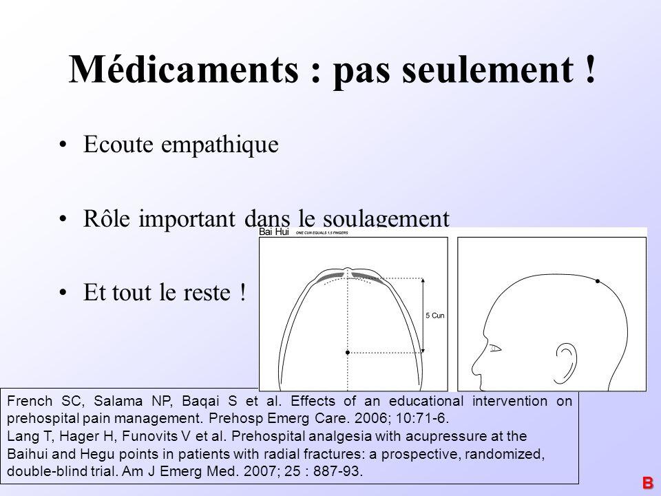 Médicaments : pas seulement ! Ecoute empathique Rôle important dans le soulagement Et tout le reste ! French SC, Salama NP, Baqai S et al. Effects of