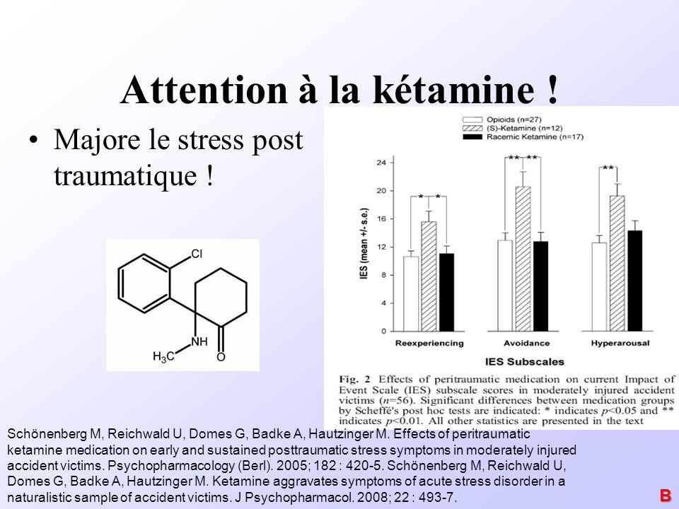 Attention à la kétamine ! Majore le stress post traumatique ! Schönenberg M, Reichwald U, Domes G, Badke A, Hautzinger M. Effects of peritraumatic ket