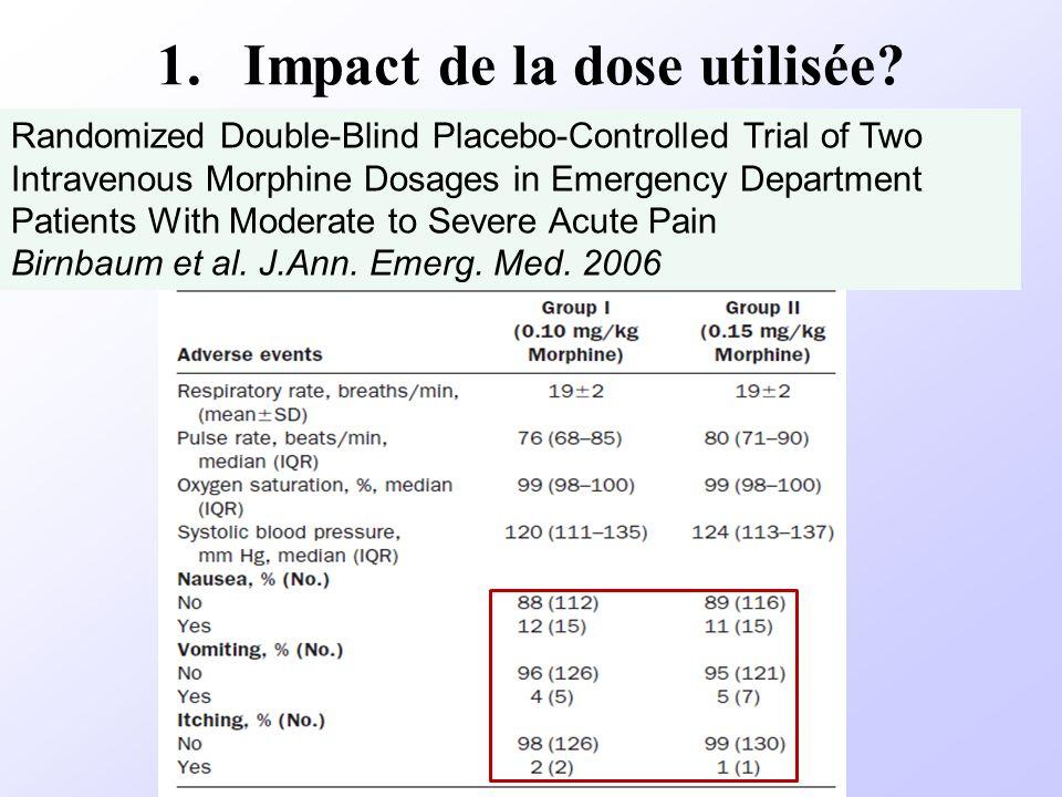 1.Impact de la dose utilisée? Randomized Double-Blind Placebo-Controlled Trial of Two Intravenous Morphine Dosages in Emergency Department Patients Wi