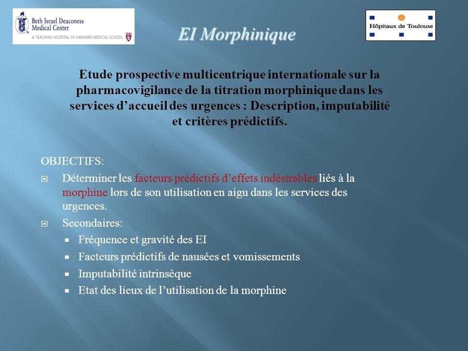 Etude prospective multicentrique internationale sur la pharmacovigilance de la titration morphinique dans les services daccueil des urgences : Descrip
