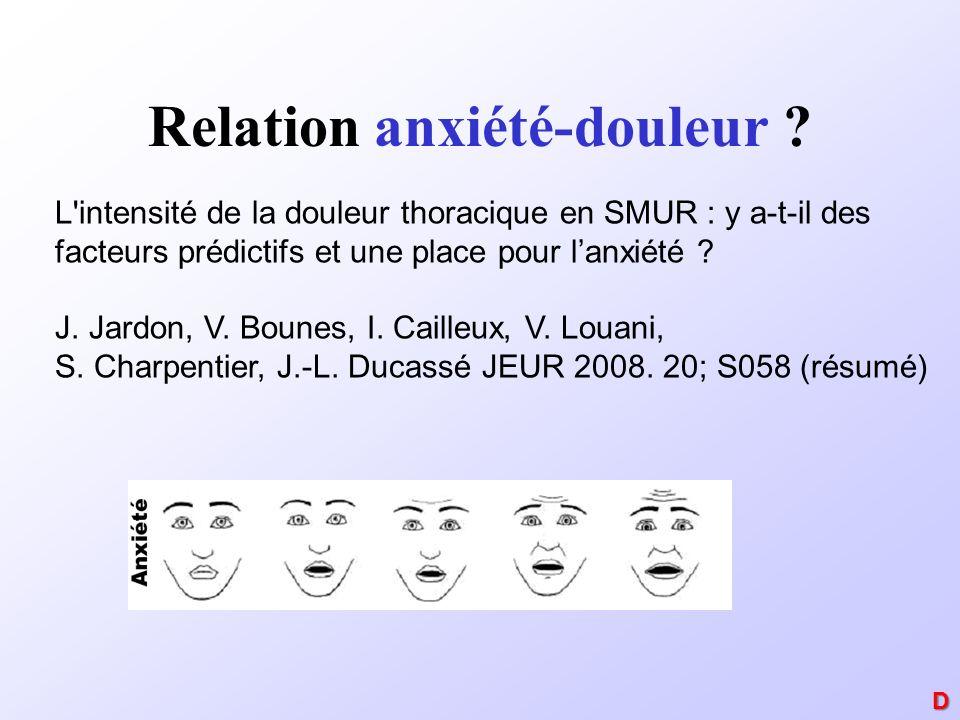 Relation anxiété-douleur ? L'intensité de la douleur thoracique en SMUR : y a-t-il des facteurs prédictifs et une place pour lanxiété ? J. Jardon, V.