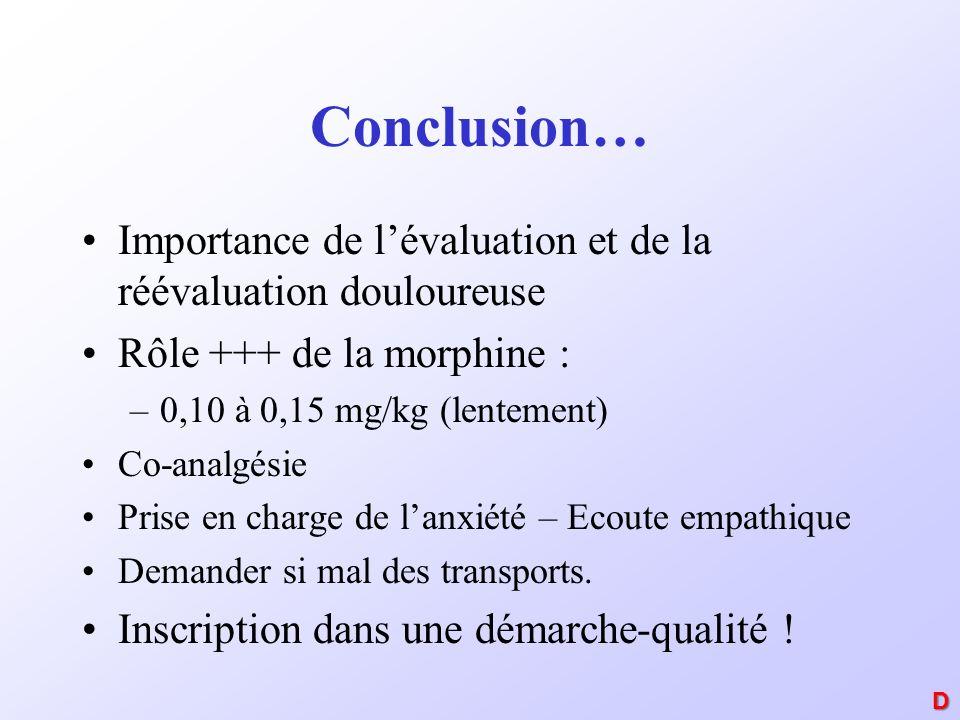 Conclusion… Importance de lévaluation et de la réévaluation douloureuse Rôle +++ de la morphine : –0,10 à 0,15 mg/kg (lentement) Co-analgésie Prise en