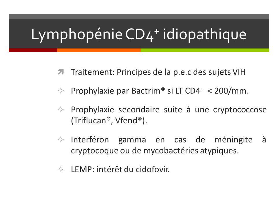 Lymphopénie CD4 + idiopathique Traitement: Principes de la p.e.c des sujets VIH Prophylaxie par Bactrim® si LT CD4 + < 200/mm. Prophylaxie secondaire