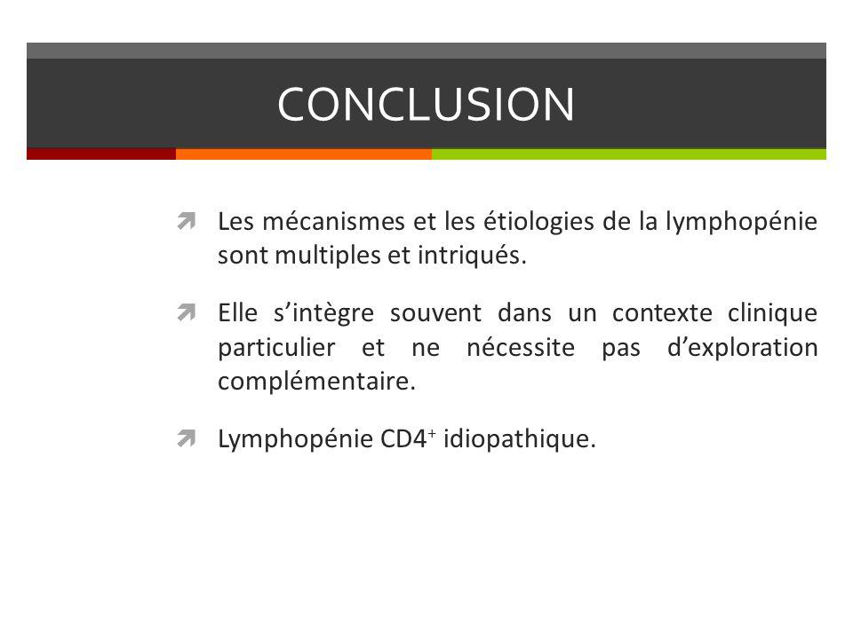 CONCLUSION Les mécanismes et les étiologies de la lymphopénie sont multiples et intriqués. Elle sintègre souvent dans un contexte clinique particulier