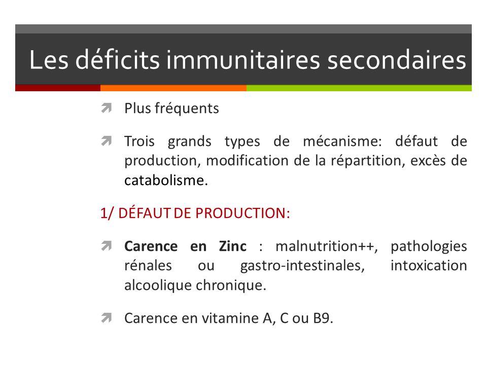 Les déficits immunitaires secondaires Plus fréquents Trois grands types de mécanisme: défaut de production, modification de la répartition, excès de c