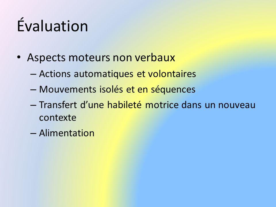 Évaluation Aspects moteurs non verbaux – Actions automatiques et volontaires – Mouvements isolés et en séquences – Transfert dune habileté motrice dan